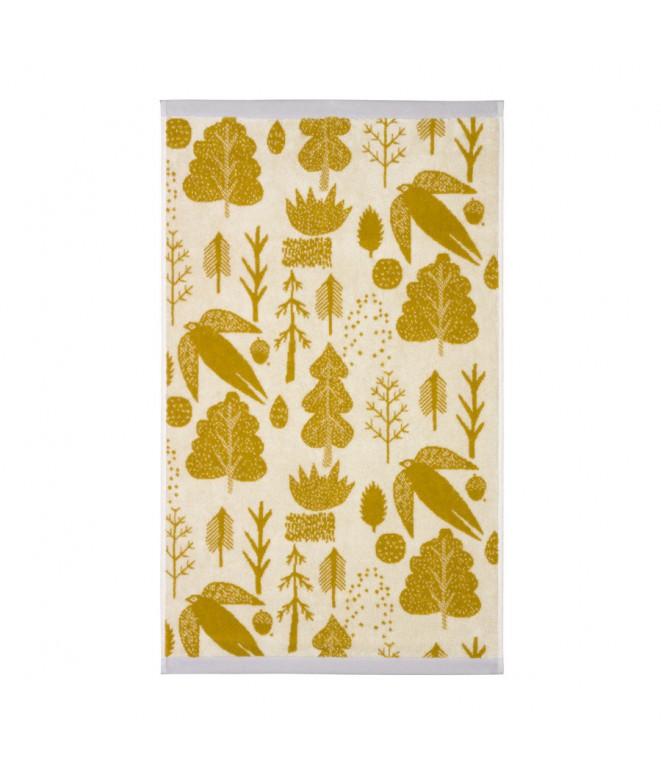 Froté ručník Bird & Tree mustard 50 x 90