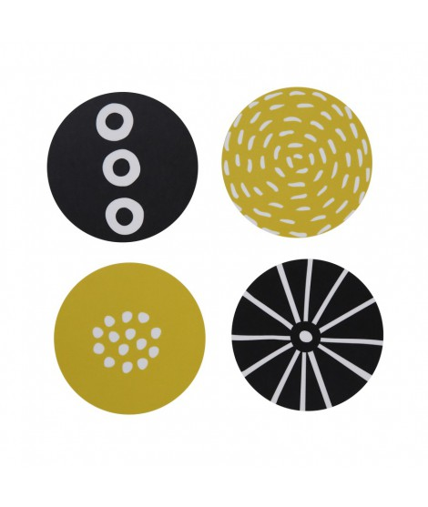 Wooden coasters Candy yellow black