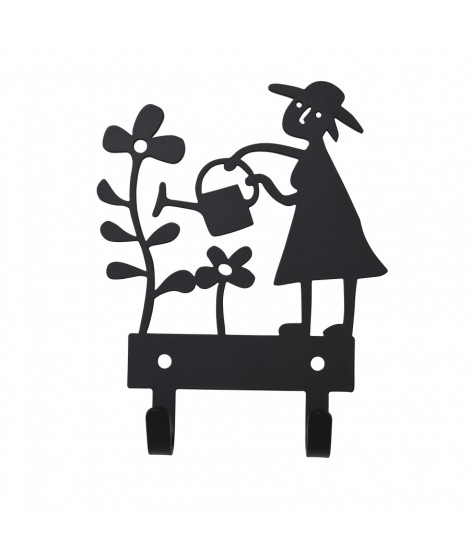 Kovový věšák na zeď  Garden woman black
