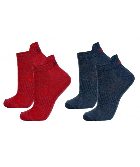 Janus woman merino socks LW Red Blue 2-pack