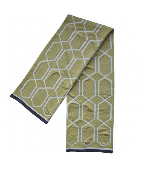 Knitted cotton blanket Irma olive