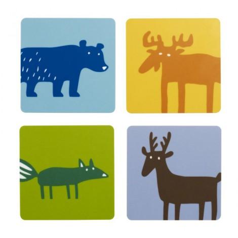 Podložky pod sklenice Wild animals 4-set