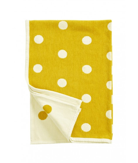Chenille baby blanket Dots yellow 140x90