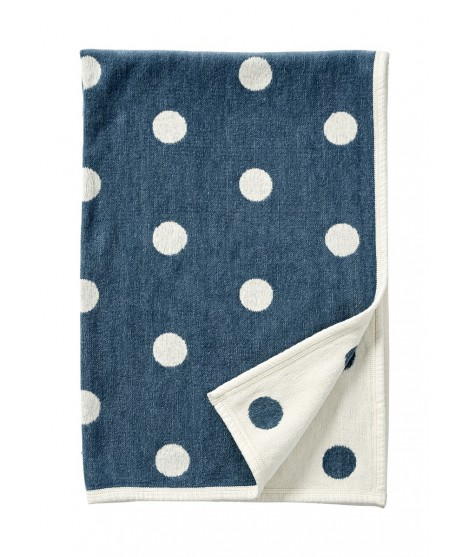 Chenille baby blanket Dots blue 140x90