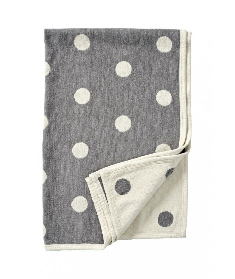 Chenille baby blanket Dots grey 140x90