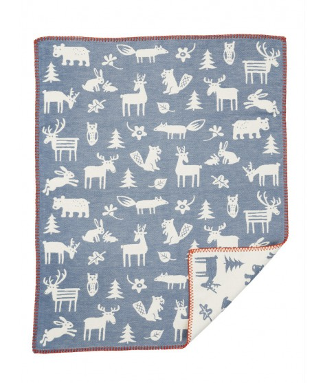 Cotton baby blanket Forest blue