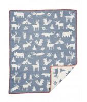 Bavlněná dětská deka Forest blue