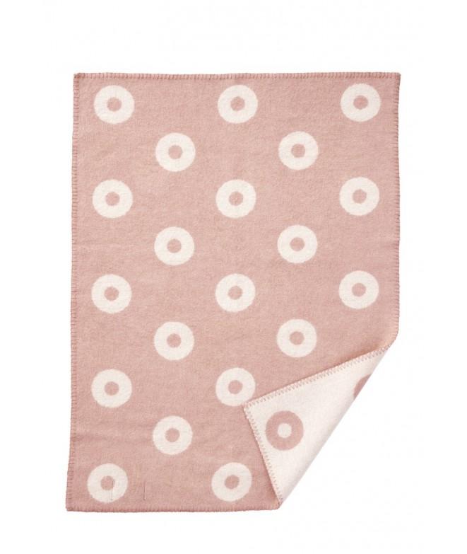 Vlněná dětská deka Rings baby pink