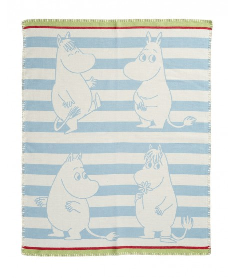 Cotton baby blanket Moomin strip blue