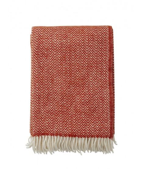 Wool throw Chevron ruby red