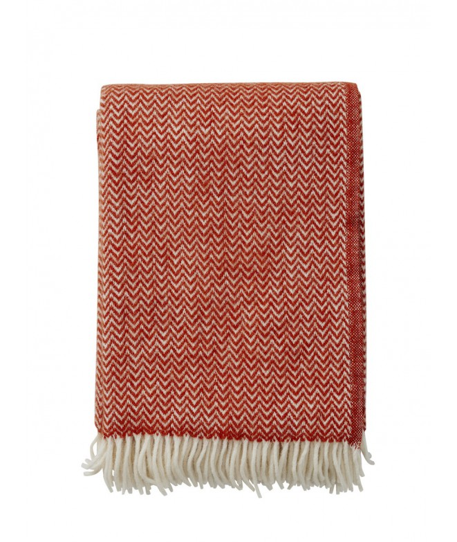 Wool throw Chevron ruby red