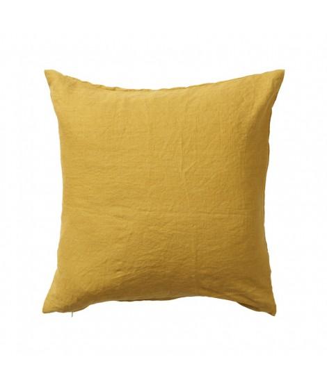 Linen cushion cover Linn mustard