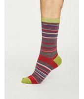 Bambusové pruhované ponožky Lauritz red 1