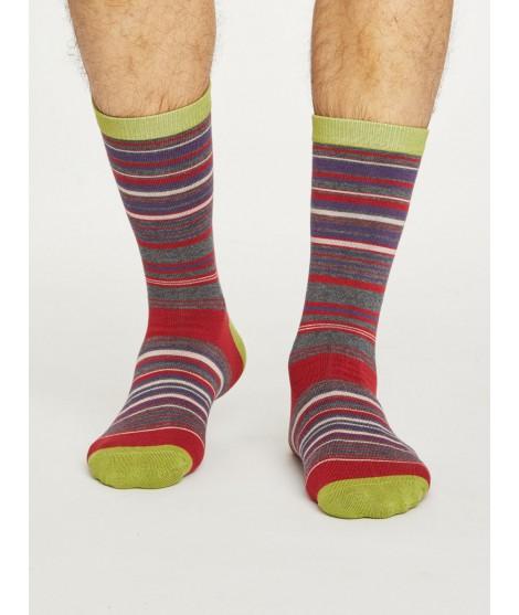 Bambusové pruhované ponožky Lauritz red