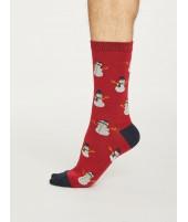 Bambusové ponožky Snowman new red 1