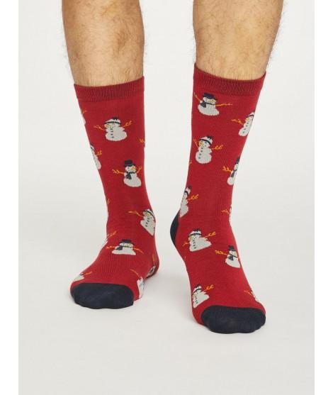 Bambusové ponožky Snowman new red