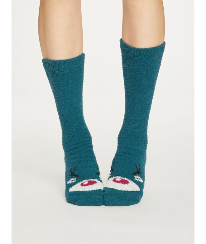 Socks Fuzzy Animal teal blue