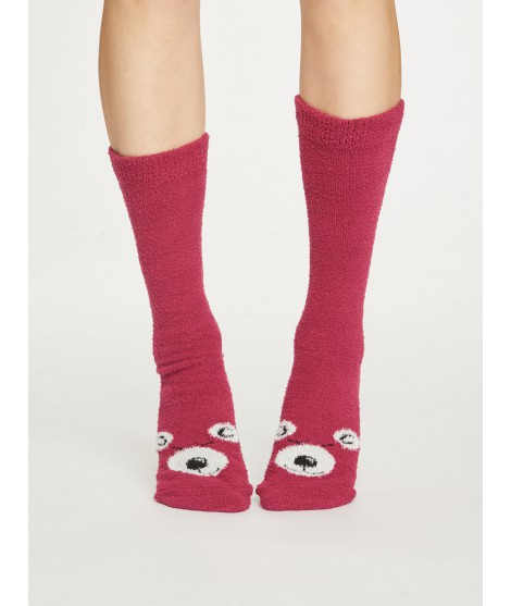Socks Fuzzy Animal cranberry