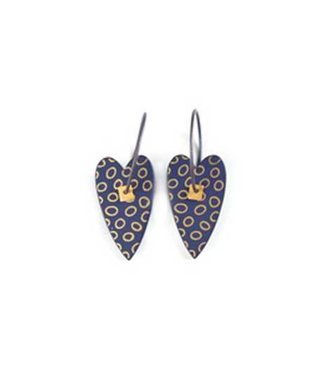 Earrings Heart blue 9D