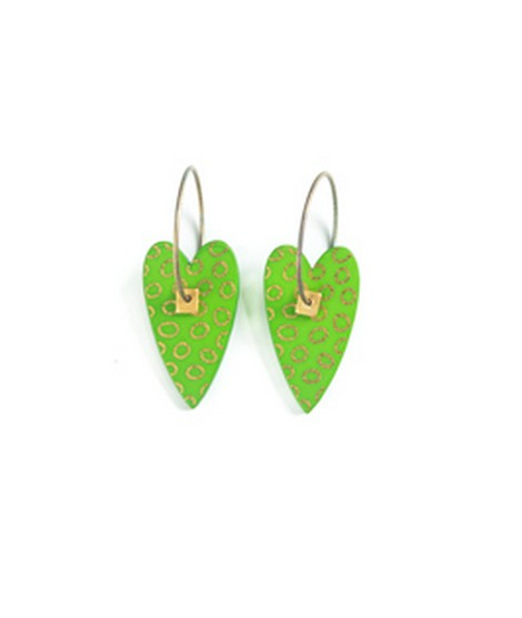 Earrings Heart green 10A