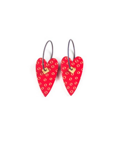 Earrings Heart red 10B