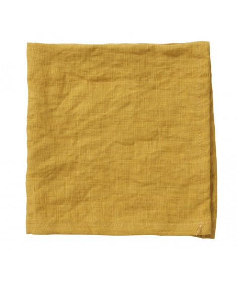 Lněné ubrousky Linn mustard 2-set