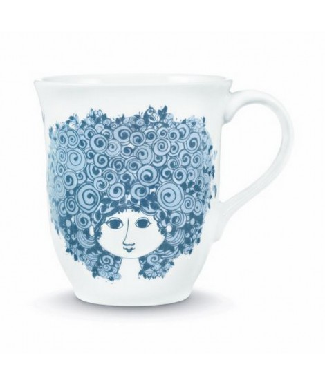 Porcelain mug Rosalinde dusty blue 350ml