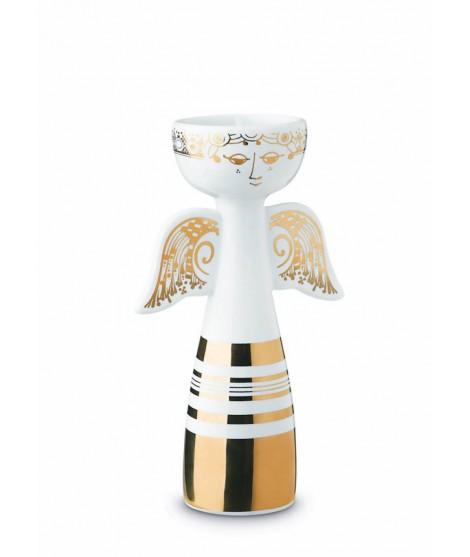 Porcelain candle holder Lucia Angel gold H16,5