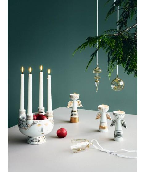 Porcelánové svícny Lucia Angel gold silver