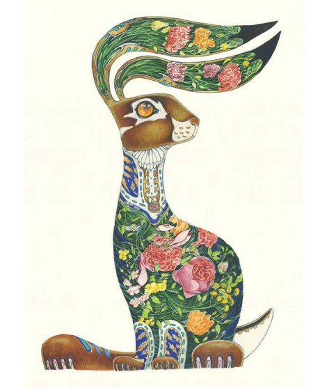 Reprodukce The DM Hare with Flowers