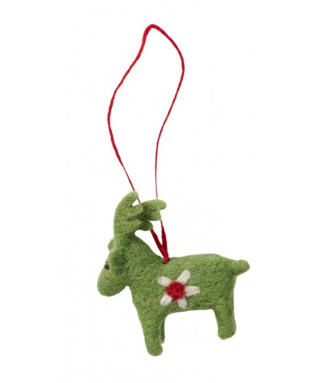 Felted decoration Deer green
