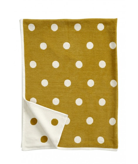 Cotton blanket Dots mustard