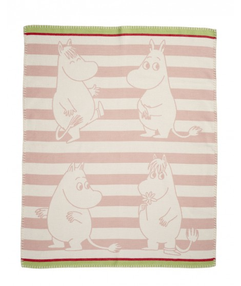 Cotton baby blanket Moomin strip pink
