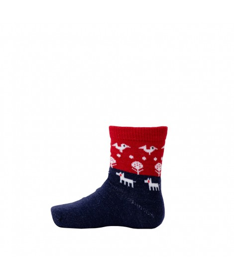 Kids merino socks Nature red blue