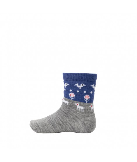Kids merino socks Nature grey blue
