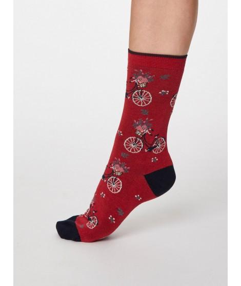 Bambusové ponožky s kolem Bicicletta red