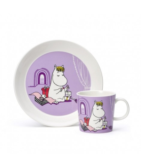 Porcelain mug and plate Moomin Snorkmaiden lila 2-set box