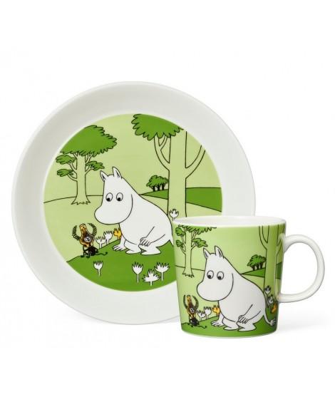 Porcelánový hrnek s talířkem Moomintroll green 2-set box