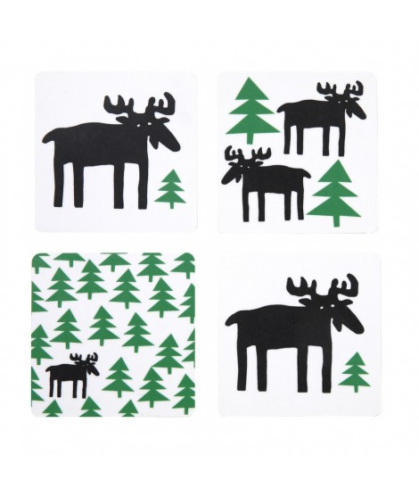 Coasters Moose in the forest 4-set 9x9