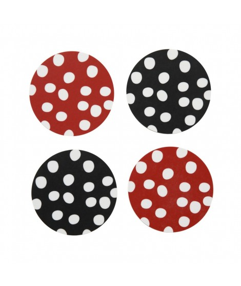 Coasters Polka dots red black 4-set 9x9