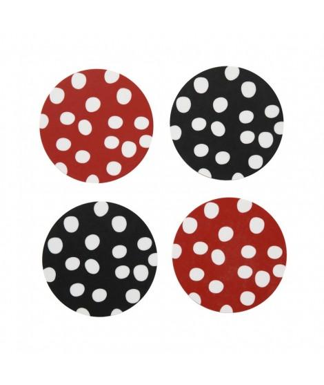 Tácky pod skleničky Polka dots red black 4-set 9x9