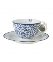 Porcelain cup and saucer Floris blue 260ml