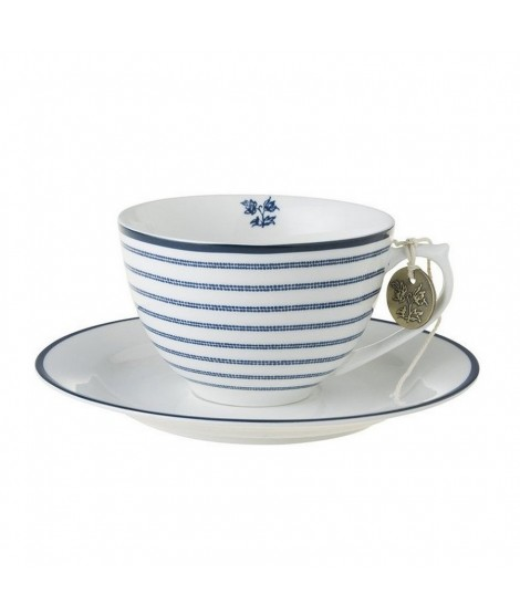 Porcelain cup and saucer Candy Stripe blue 260ml