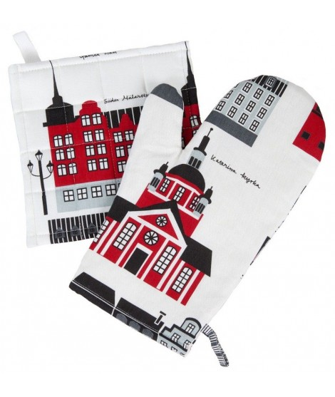 Oven glove My Stockholm red