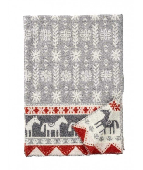 Vlněná deka Horse grey 130x180
