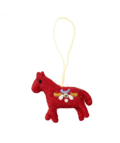 Felted ornament Horse red 7x6