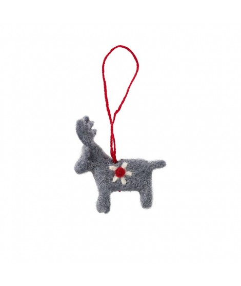 Felted decoration Reindeer grey 7x6