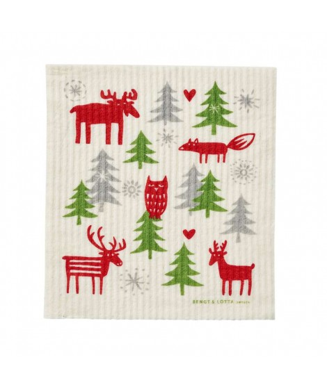 Dishcloth Christmas forest 17x20