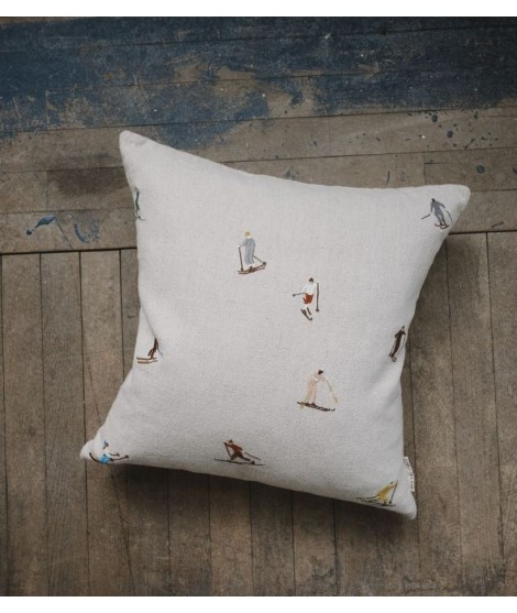 Cushion cover SKIERS embroidered natural 50x50