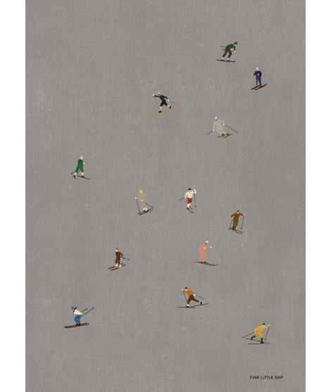 Plakát Skiers 40x50